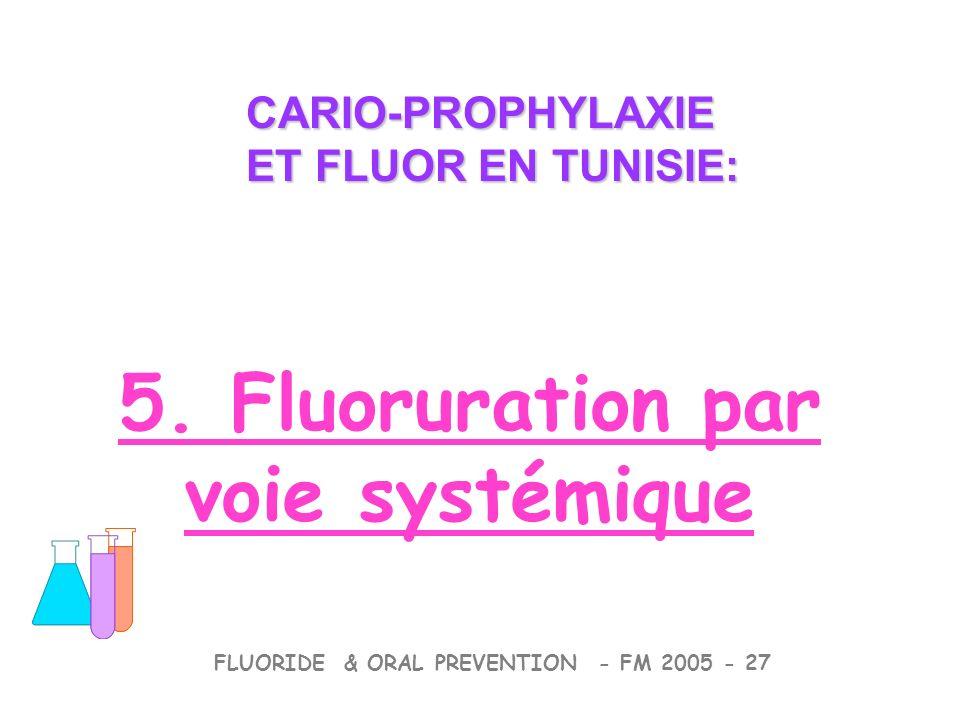 CARIO-PROPHYLAXIE ET FLUOR EN TUNISIE: CARIO-PROPHYLAXIE ET FLUOR EN TUNISIE: FLUORIDE & ORAL PREVENTION - FM 2005 - 27 5. Fluoruration par voie systé