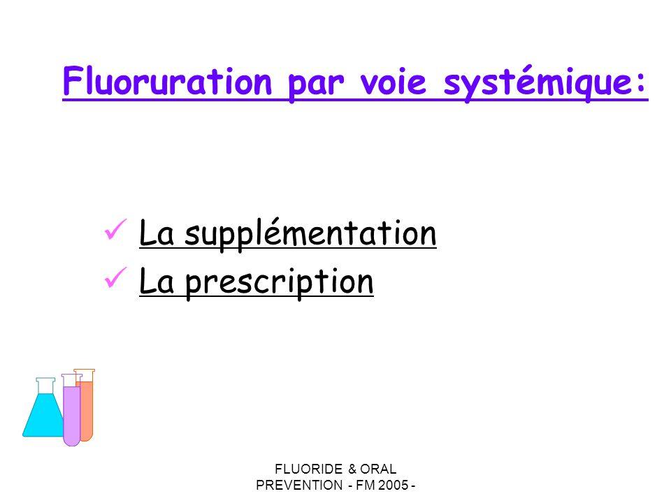 FLUORIDE & ORAL PREVENTION - FM 2005 - Fluoruration par voie systémique: La supplémentation La prescription