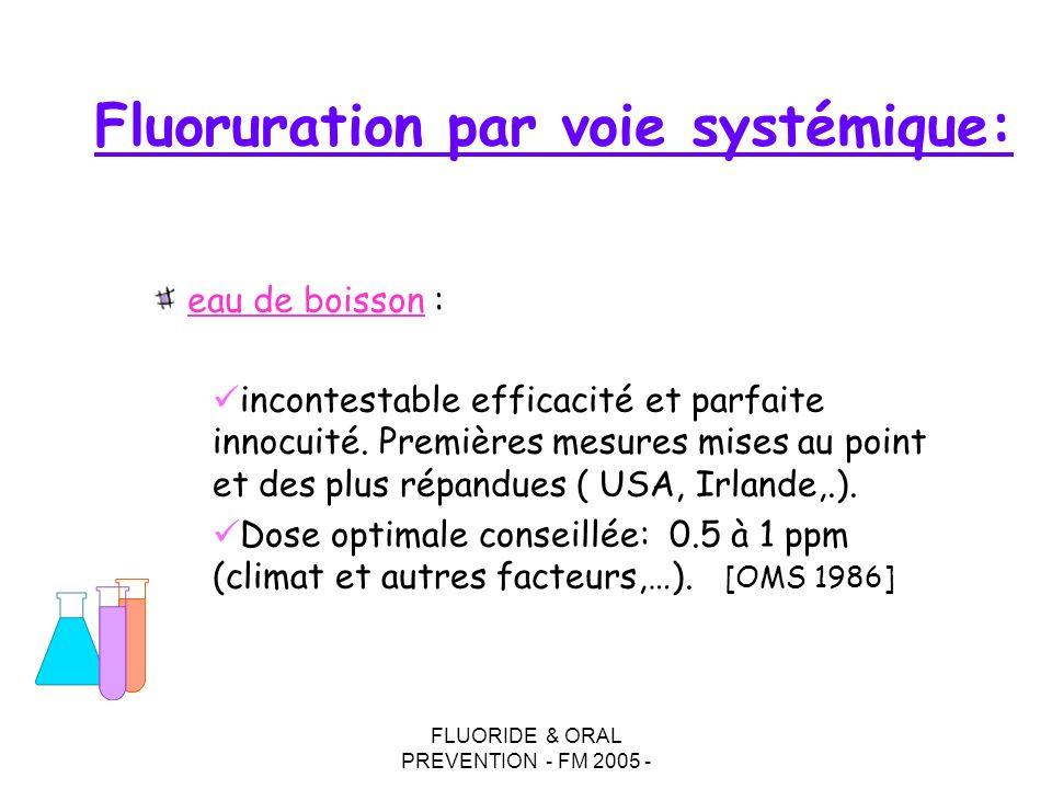 FLUORIDE & ORAL PREVENTION - FM 2005 - Fluoruration par voie systémique: incontestable efficacité et parfaite innocuité. Premières mesures mises au po