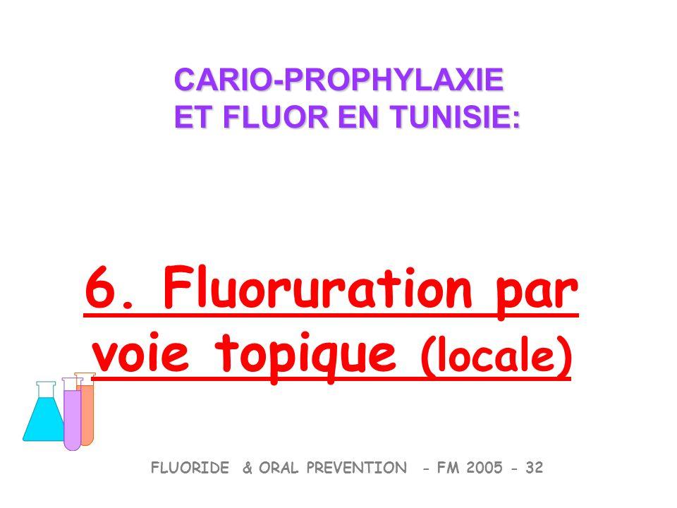 CARIO-PROPHYLAXIE ET FLUOR EN TUNISIE: CARIO-PROPHYLAXIE ET FLUOR EN TUNISIE: FLUORIDE & ORAL PREVENTION - FM 2005 - 32 6. Fluoruration par voie topiq