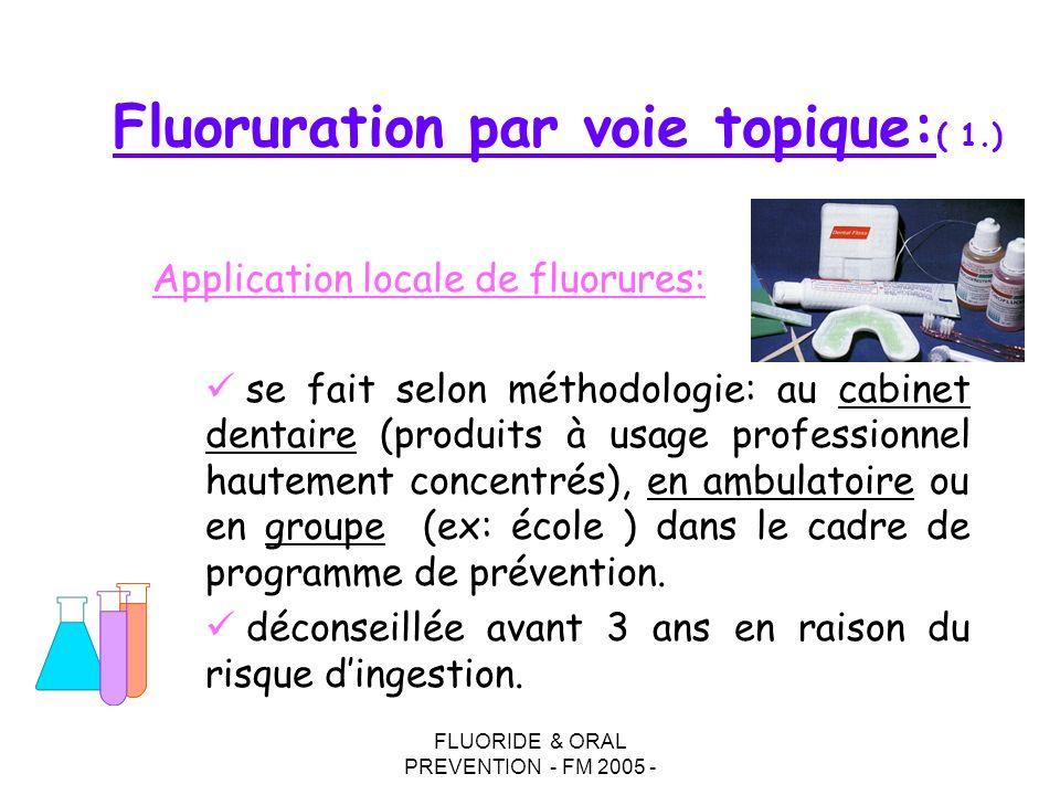 FLUORIDE & ORAL PREVENTION - FM 2005 - Fluoruration par voie topique: ( 1.) Application locale de fluorures: se fait selon méthodologie: au cabinet de