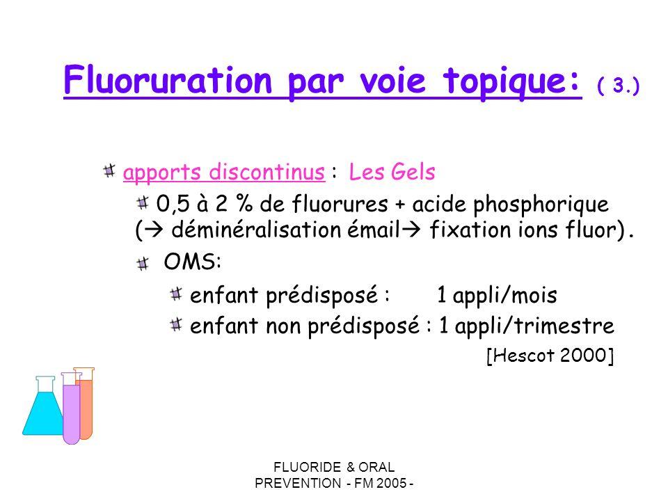 FLUORIDE & ORAL PREVENTION - FM 2005 - Fluoruration par voie topique: ( 3.) apports discontinus : Les Gels 0,5 à 2 % de fluorures + acide phosphorique