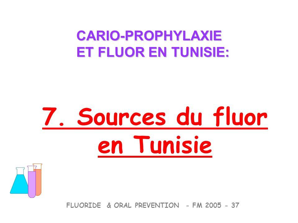 7. Sources du fluor en Tunisie CARIO-PROPHYLAXIE ET FLUOR EN TUNISIE: CARIO-PROPHYLAXIE ET FLUOR EN TUNISIE: FLUORIDE & ORAL PREVENTION - FM 2005 - 37