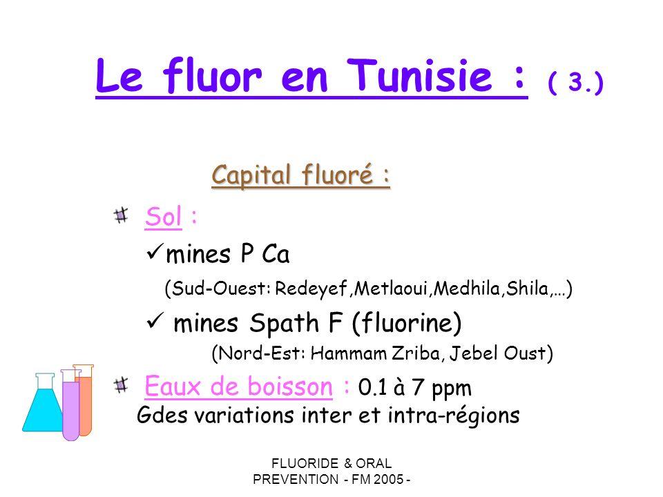 FLUORIDE & ORAL PREVENTION - FM 2005 - Sol : mines P Ca (Sud-Ouest: Redeyef,Metlaoui,Medhila,Shila,…) mines Spath F (fluorine) (Nord-Est: Hammam Zriba