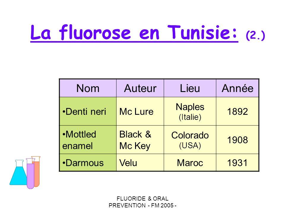 FLUORIDE & ORAL PREVENTION - FM 2005 - La fluorose en Tunisie: (2.) NomAuteurLieuAnnée Denti neriMc Lure Naples (Italie) 1892 Mottled enamel Black & M