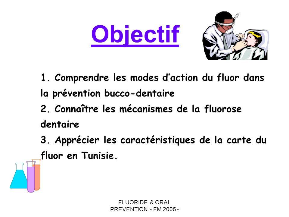 FLUORIDE & ORAL PREVENTION - FM 2005 - Objectif 1. Comprendre les modes daction du fluor dans la prévention bucco-dentaire 2. Connaître les mécanismes