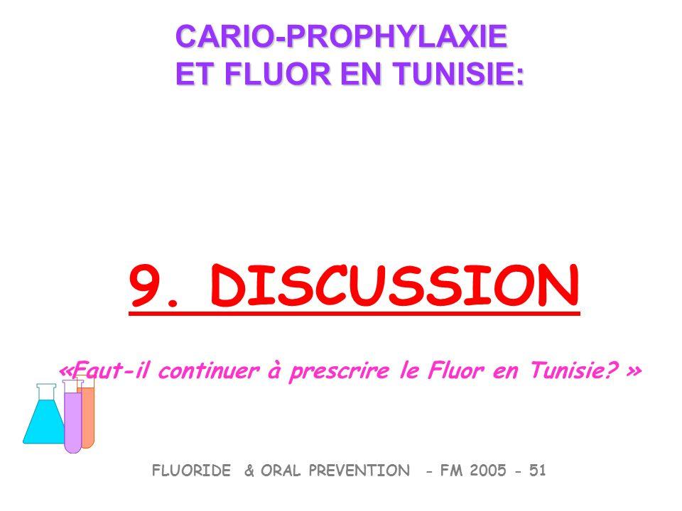 9. DISCUSSION CARIO-PROPHYLAXIE ET FLUOR EN TUNISIE: CARIO-PROPHYLAXIE ET FLUOR EN TUNISIE: FLUORIDE & ORAL PREVENTION - FM 2005 - 51 «Faut-il continu