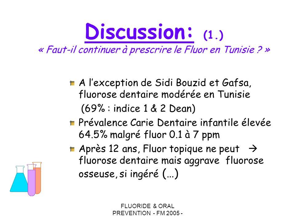 FLUORIDE & ORAL PREVENTION - FM 2005 - A lexception de Sidi Bouzid et Gafsa, fluorose dentaire modérée en Tunisie (69% : indice 1 & 2 Dean) Prévalence