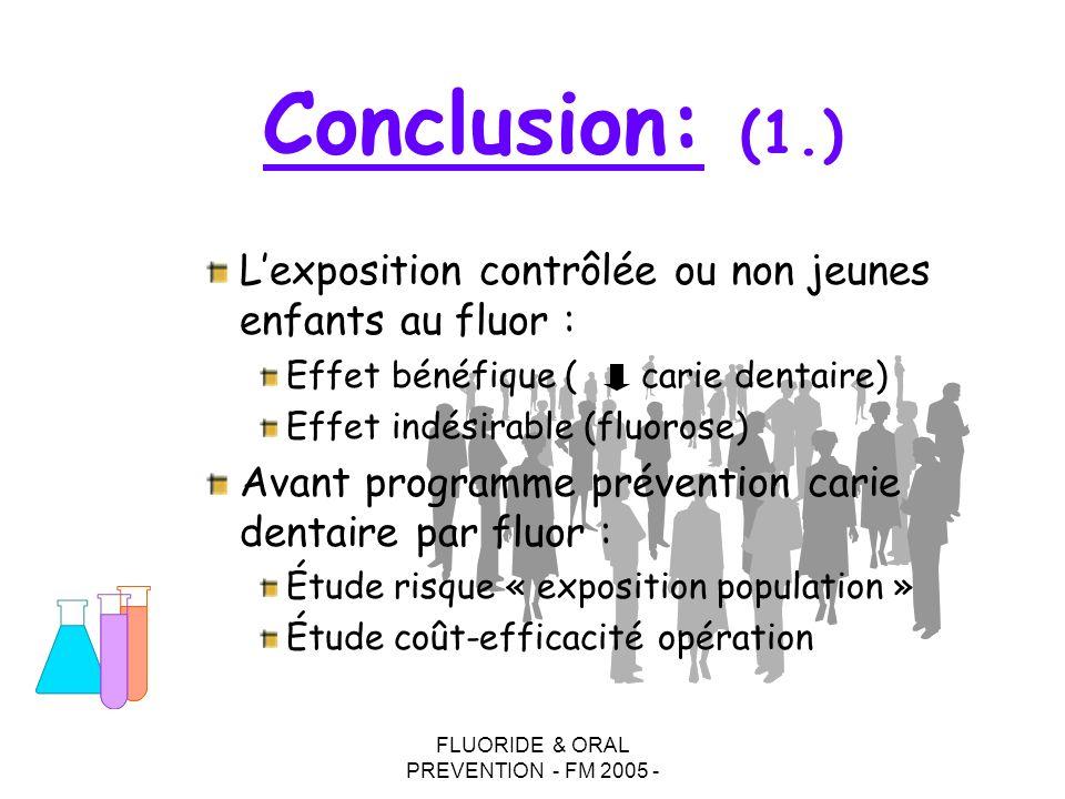 FLUORIDE & ORAL PREVENTION - FM 2005 - Lexposition contrôlée ou non jeunes enfants au fluor : Effet bénéfique ( carie dentaire) Effet indésirable (flu