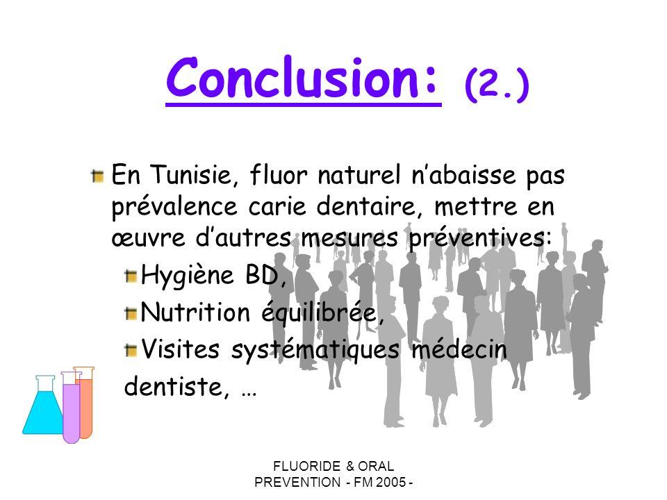 FLUORIDE & ORAL PREVENTION - FM 2005 - En Tunisie, fluor naturel nabaisse pas prévalence carie dentaire, mettre en œuvre dautres mesures préventives:
