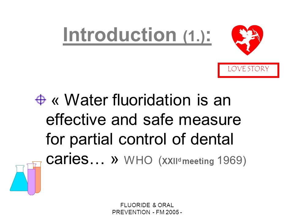 FLUORIDE & ORAL PREVENTION - FM 2005 - « Water fluoridation is an effective and safe measure for partial control of dental caries… » WHO ( XXII d meeting 1969) Introduction (1.) : LOVE STORY