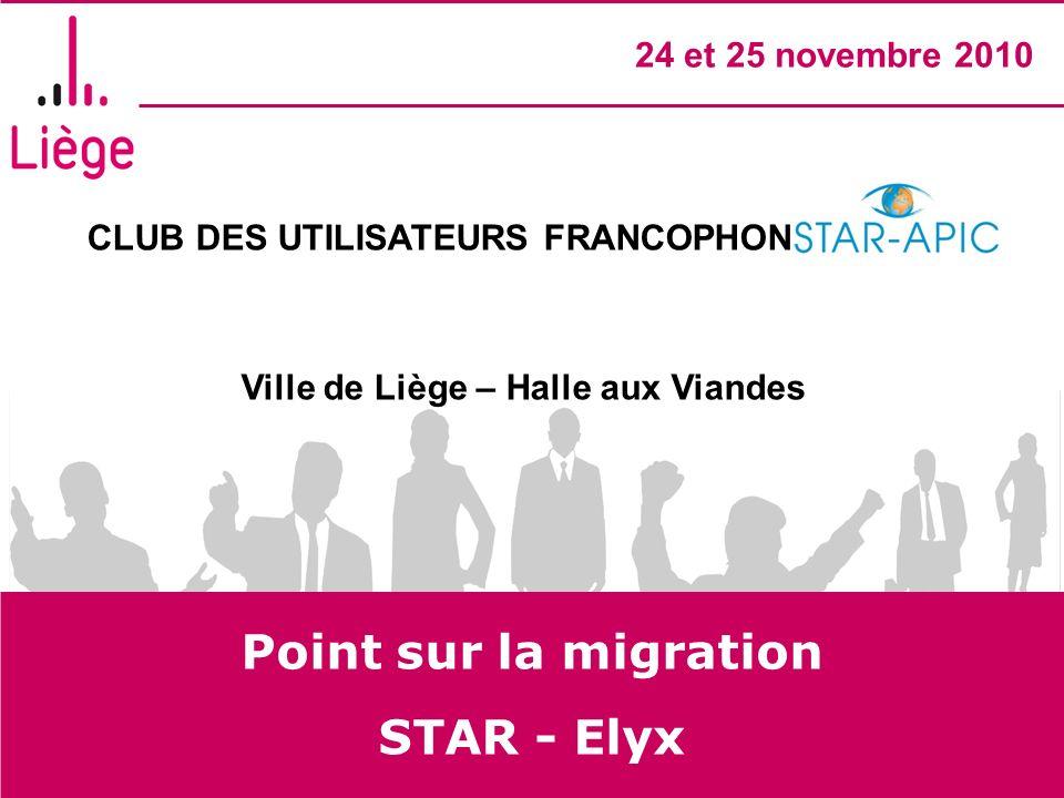 CLUB DES UTILISATEURS FRANCOPHONES STAR- APIC Ville de Liège – Halle aux Viandes 24 et 25 novembre 2010 Point sur la migration STAR - Elyx