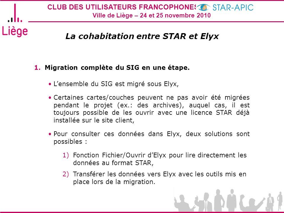 CLUB DES UTILISATEURS FRANCOPHONES STAR-APIC 2010 Ville de Liège – 24 et 25 novembre 2010 La cohabitation entre STAR et Elyx 1.Migration complète du S