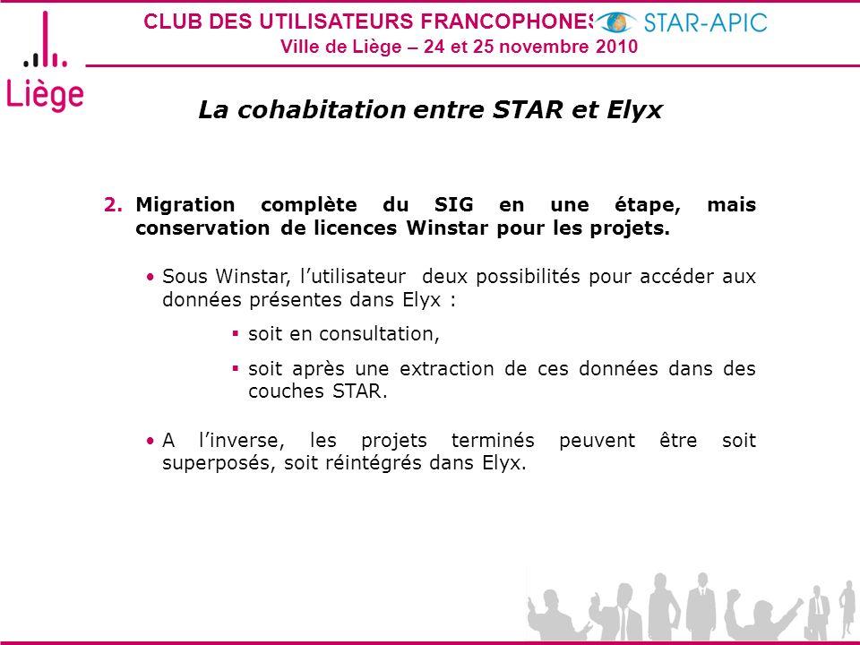 CLUB DES UTILISATEURS FRANCOPHONES STAR-APIC 2010 Ville de Liège – 24 et 25 novembre 2010 La cohabitation entre STAR et Elyx 2.Migration complète du S