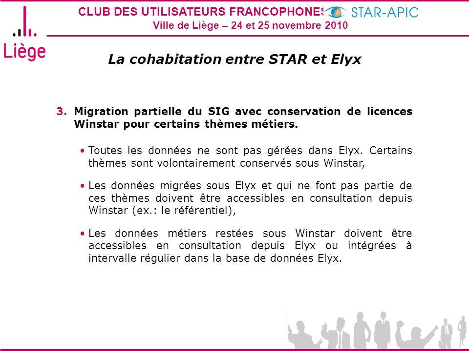 CLUB DES UTILISATEURS FRANCOPHONES STAR-APIC 2010 Ville de Liège – 24 et 25 novembre 2010 La cohabitation entre STAR et Elyx 3.Migration partielle du
