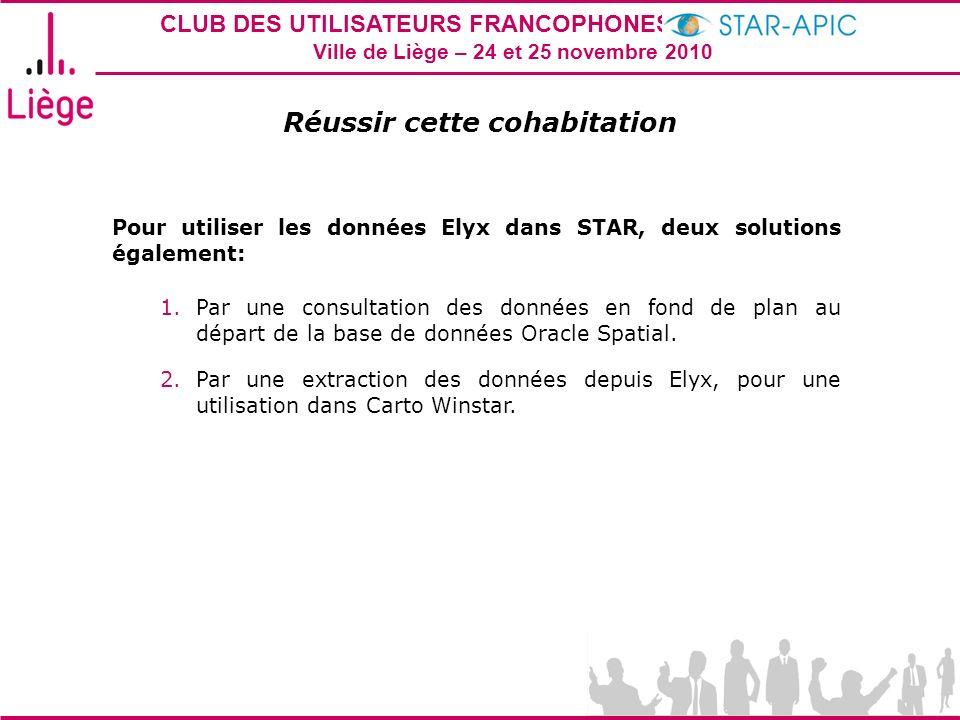 CLUB DES UTILISATEURS FRANCOPHONES STAR-APIC 2010 Ville de Liège – 24 et 25 novembre 2010 Réussir cette cohabitation Pour utiliser les données Elyx da