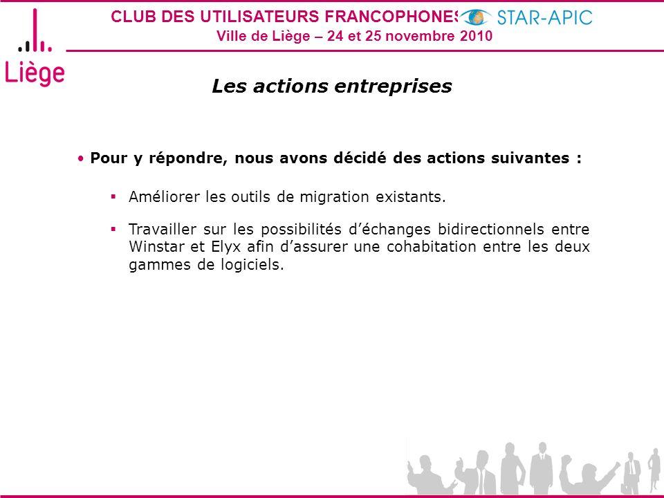 CLUB DES UTILISATEURS FRANCOPHONES STAR-APIC 2010 Ville de Liège – 24 et 25 novembre 2010 Les actions entreprises Pour y répondre, nous avons décidé d