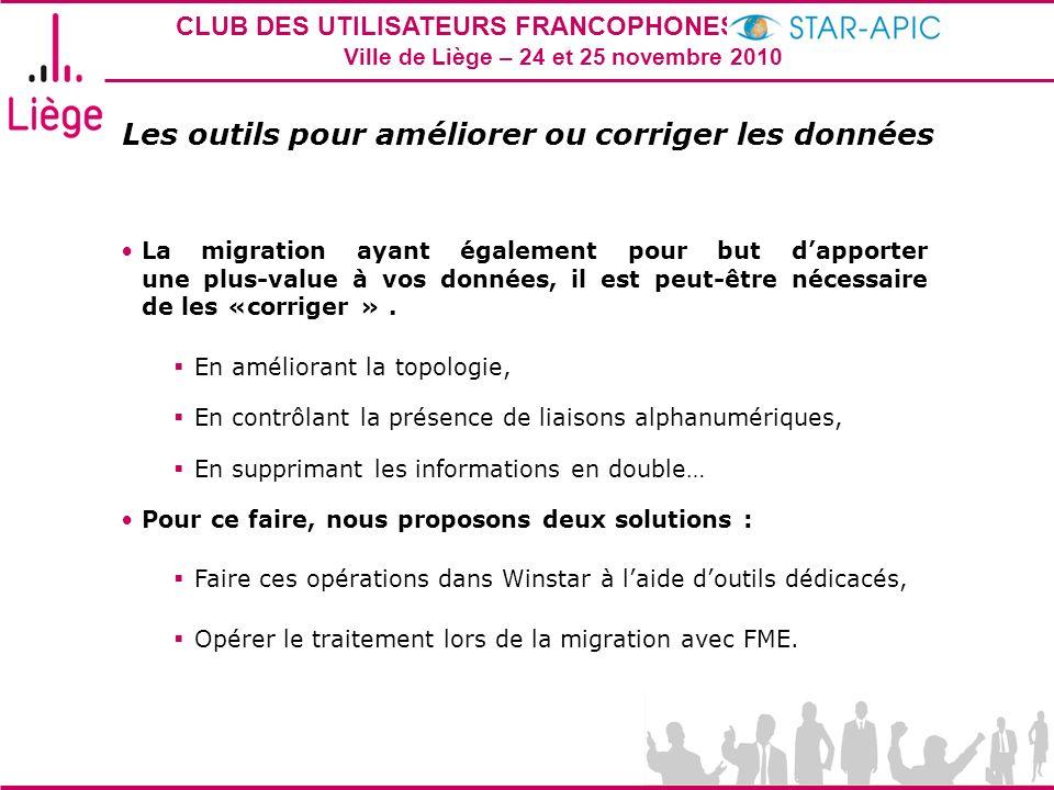CLUB DES UTILISATEURS FRANCOPHONES STAR-APIC 2010 Ville de Liège – 24 et 25 novembre 2010 Les outils pour améliorer ou corriger les données La migrati