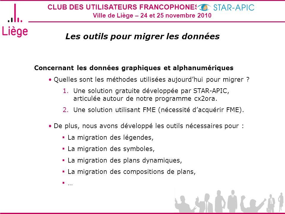 CLUB DES UTILISATEURS FRANCOPHONES STAR-APIC 2010 Ville de Liège – 24 et 25 novembre 2010 Les outils pour migrer les données Concernant les données gr