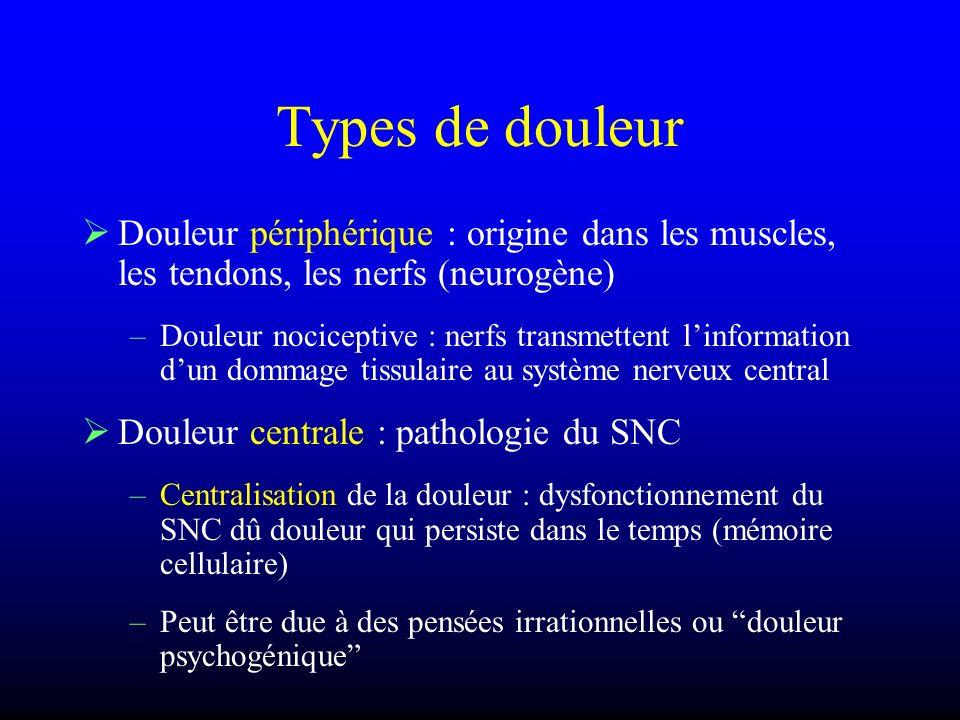 Types de douleur Douleur périphérique : origine dans les muscles, les tendons, les nerfs (neurogène) –Douleur nociceptive : nerfs transmettent linform
