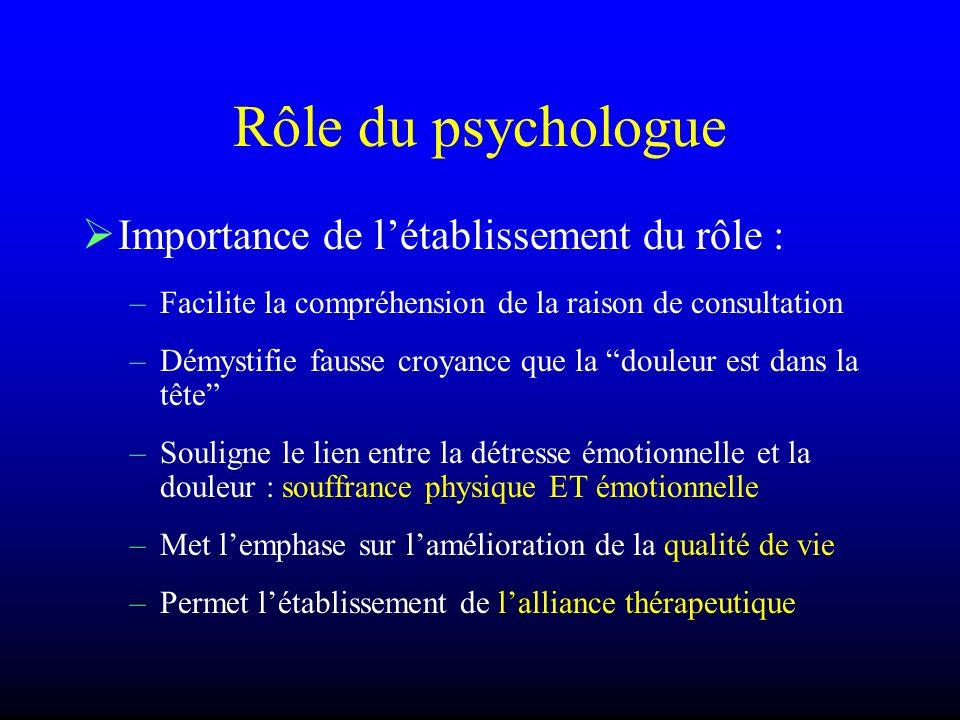 Rôle du psychologue Importance de létablissement du rôle : –Facilite la compréhension de la raison de consultation –Démystifie fausse croyance que la