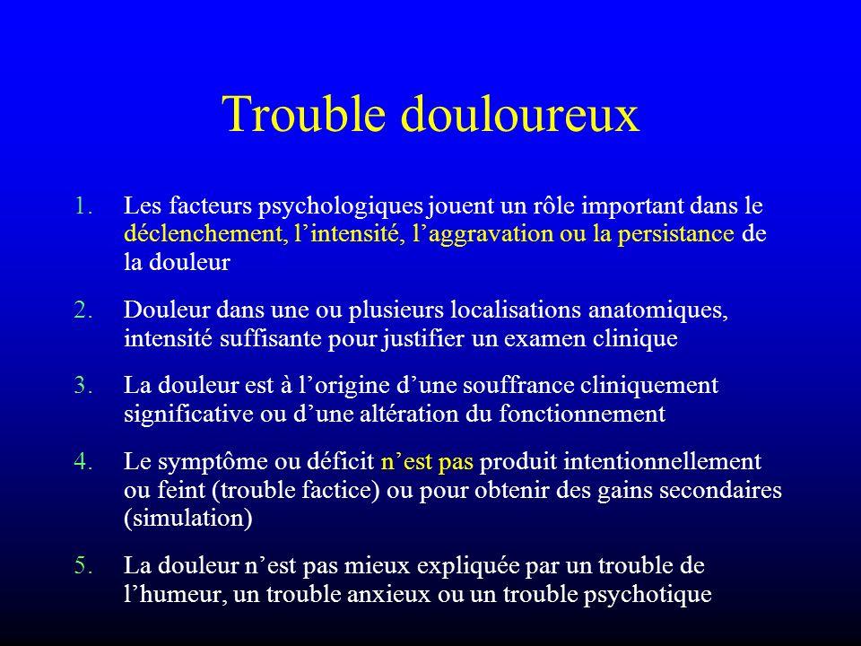 Trouble douloureux 1.Les facteurs psychologiques jouent un rôle important dans le déclenchement, lintensité, laggravation ou la persistance de la doul
