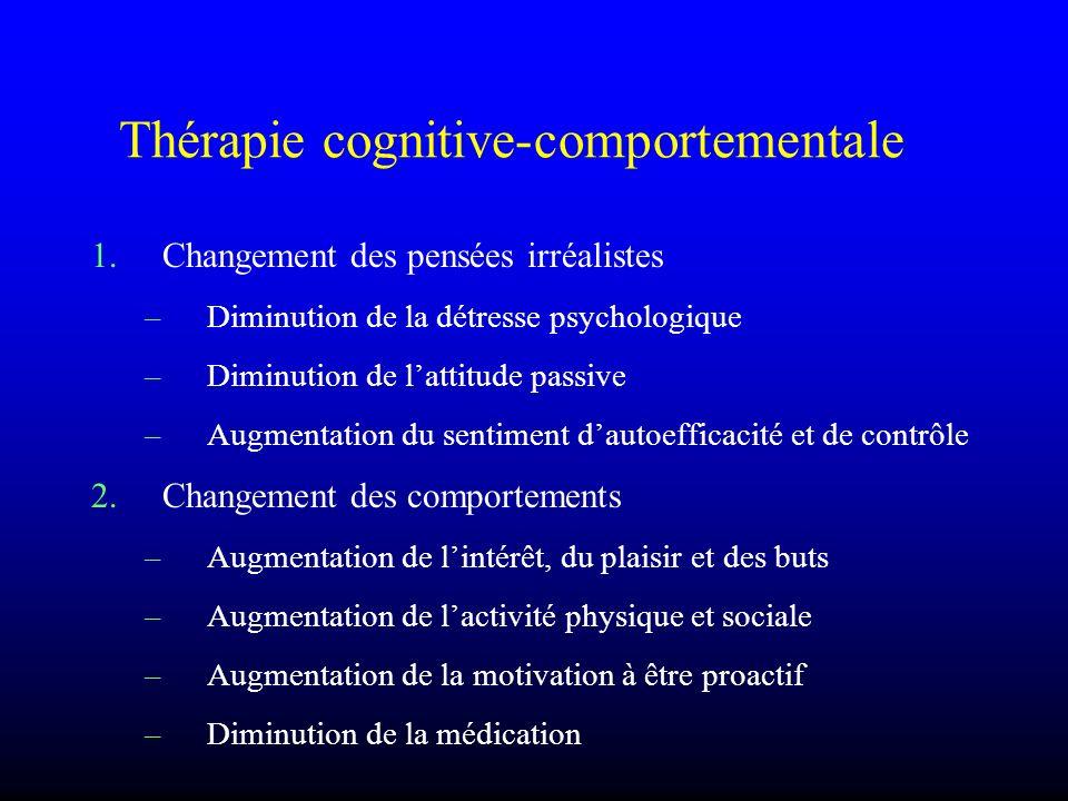 Thérapie cognitive-comportementale 1.Changement des pensées irréalistes –Diminution de la détresse psychologique –Diminution de lattitude passive –Aug
