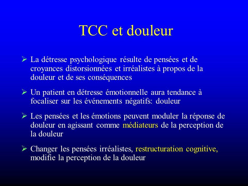 TCC et douleur La détresse psychologique résulte de pensées et de croyances distorsionnées et irréalistes à propos de la douleur et de ses conséquence
