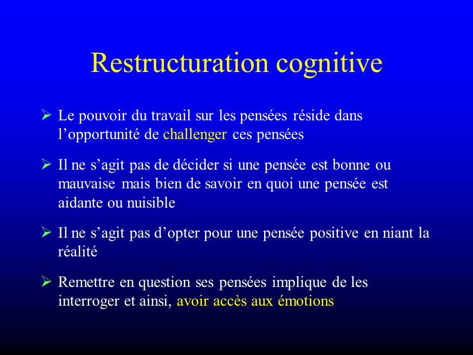 Restructuration cognitive Le pouvoir du travail sur les pensées réside dans lopportunité de challenger ces pensées Il ne sagit pas de décider si une p