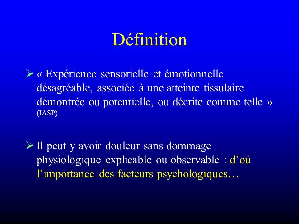 Définition « Expérience sensorielle et émotionnelle désagréable, associée à une atteinte tissulaire démontrée ou potentielle, ou décrite comme telle »
