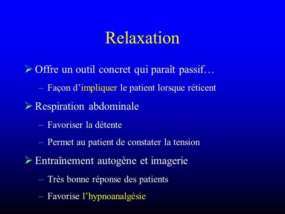 Relaxation Offre un outil concret qui paraît passif… –Façon dimpliquer le patient lorsque réticent Respiration abdominale –Favoriser la détente –Perme