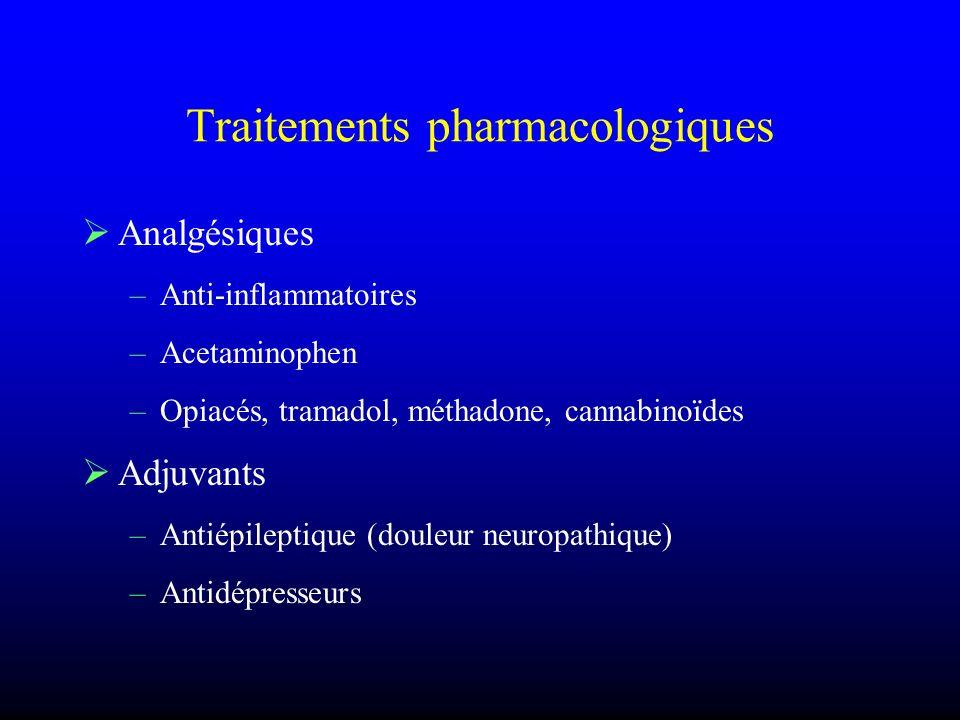 Traitements pharmacologiques Analgésiques –Anti-inflammatoires –Acetaminophen –Opiacés, tramadol, méthadone, cannabinoïdes Adjuvants –Antiépileptique