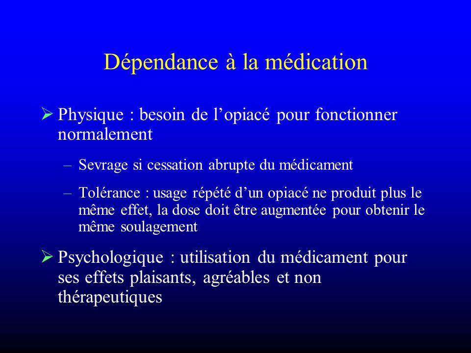 Dépendance à la médication Physique : besoin de lopiacé pour fonctionner normalement –Sevrage si cessation abrupte du médicament –Tolérance : usage ré