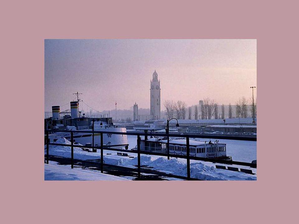 Au petit matin de la mi-janvier, alors que les Montréalais sortent du lit, une vapeur de givre monte des eaux du Saint- Laurent, dans le Vieux Port, en face de la Tour de lHorloge.