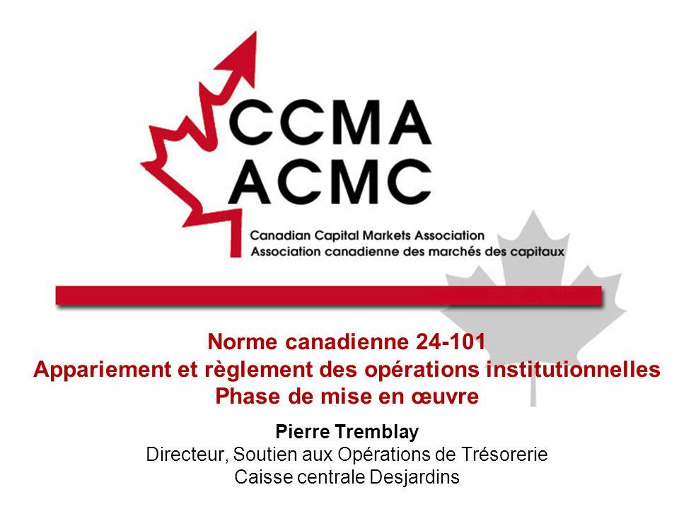 2 Ordre du jour Mot de bienvenue et présentations À propos de lACMC Aperçu de la Norme canadienne 24-101 Points de vue du côté acheteur, du côté vendeur et des gardiens Période de questions et de réponses