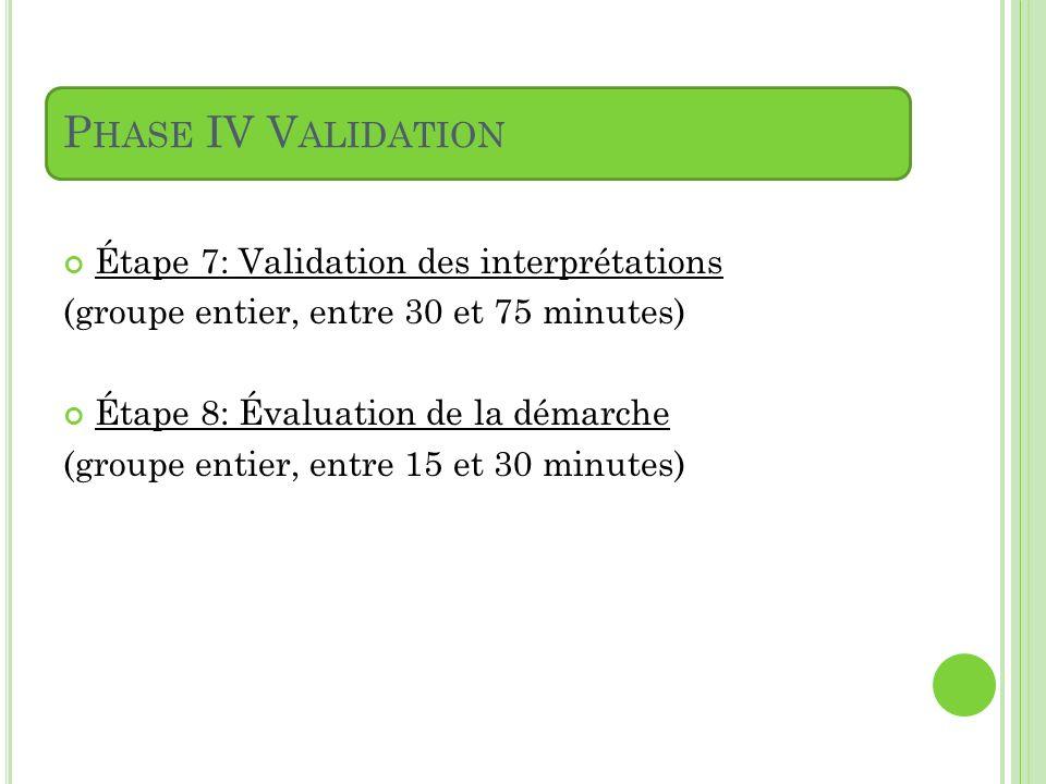 P HASE IV V ALIDATION Étape 7: Validation des interprétations (groupe entier, entre 30 et 75 minutes) Étape 8: Évaluation de la démarche (groupe entie