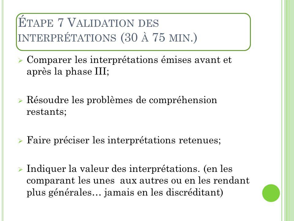É TAPE 7 V ALIDATION DES INTERPRÉTATIONS (30 À 75 MIN.) Comparer les interprétations émises avant et après la phase III; Résoudre les problèmes de com