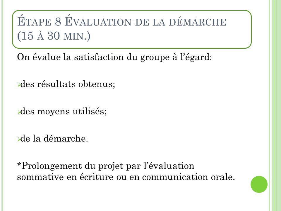 É TAPE 8 É VALUATION DE LA DÉMARCHE (15 À 30 MIN.) On évalue la satisfaction du groupe à légard: des résultats obtenus; des moyens utilisés; de la dém