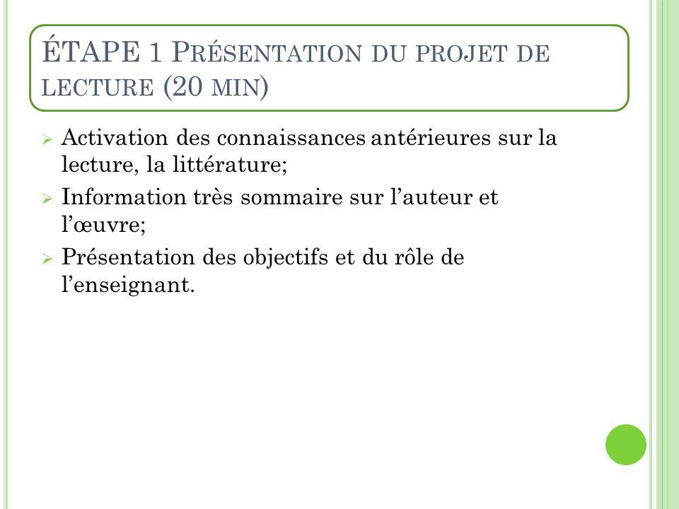 ÉTAPE 1 P RÉSENTATION DU PROJET DE LECTURE (20 MIN ) Activation des connaissances antérieures sur la lecture, la littérature; Information très sommair