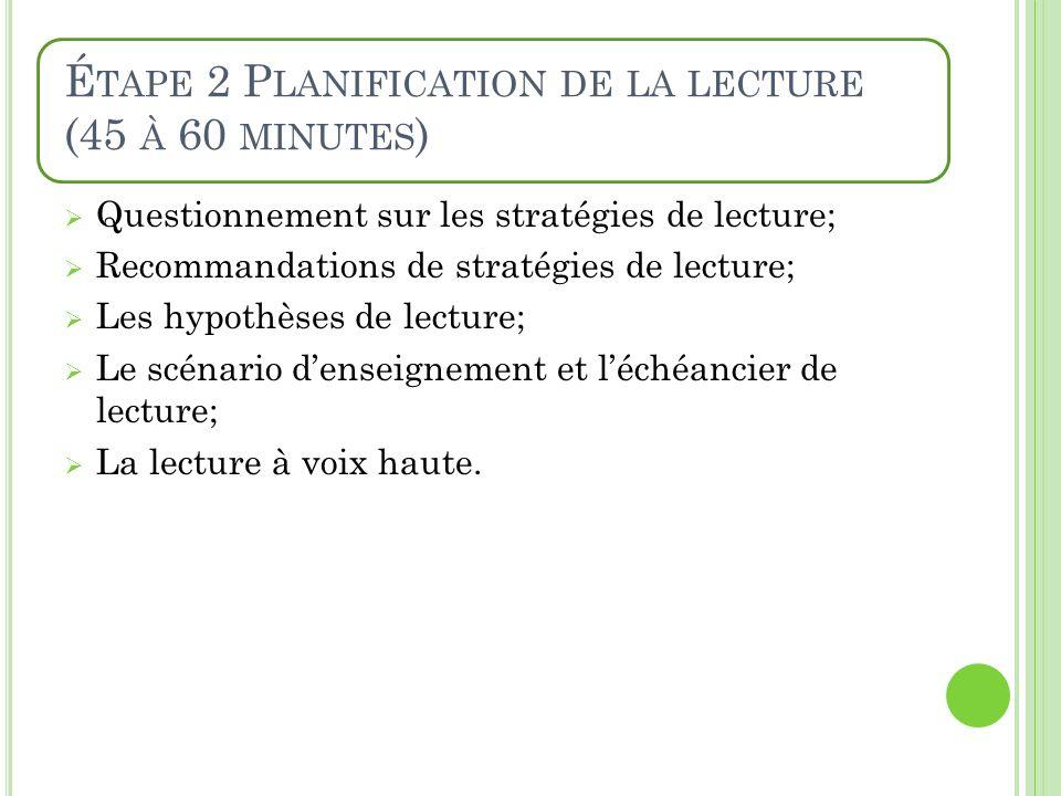 É TAPE 2 P LANIFICATION DE LA LECTURE (45 À 60 MINUTES ) Questionnement sur les stratégies de lecture; Recommandations de stratégies de lecture; Les h
