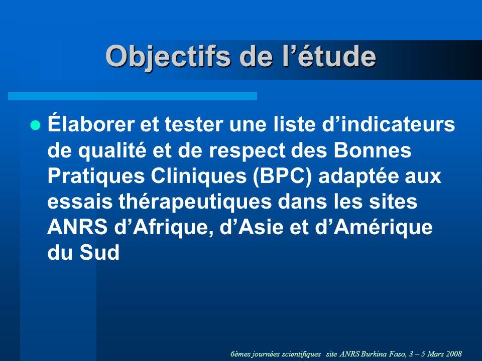 6èmes journées scientifiques site ANRS Burkina Faso, 3 – 5 Mars 2008 Objectifs de létude Élaborer et tester une liste dindicateurs de qualité et de respect des Bonnes Pratiques Cliniques (BPC) adaptée aux essais thérapeutiques dans les sites ANRS dAfrique, dAsie et dAmérique du Sud