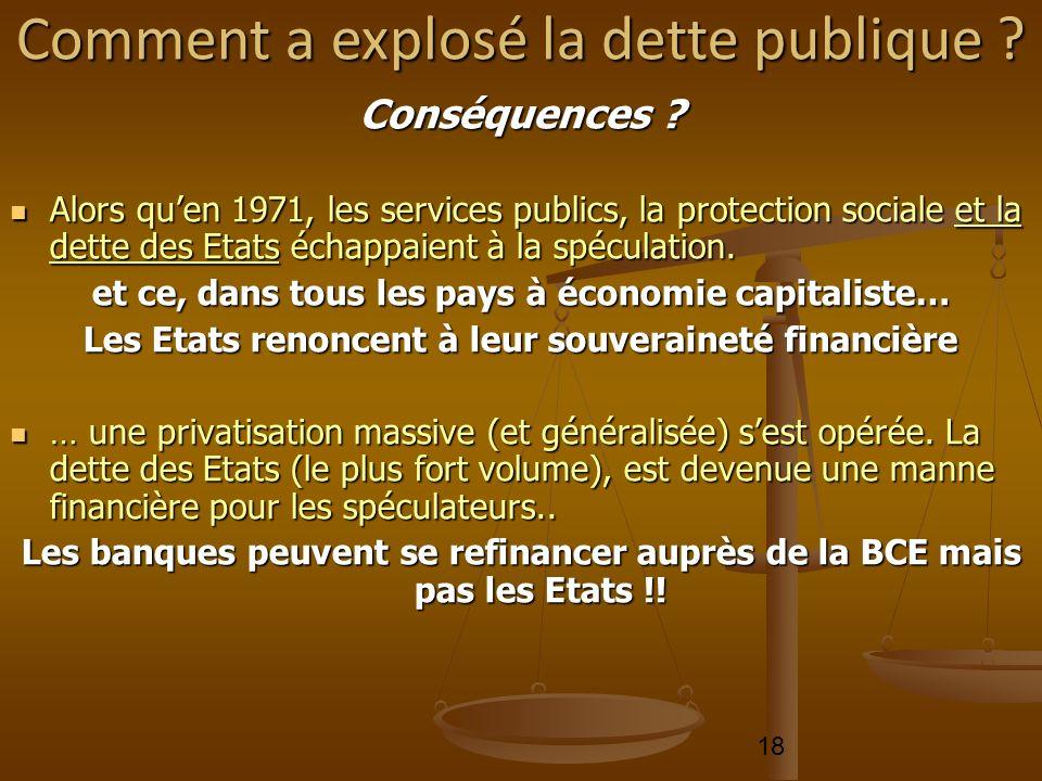 18 Conséquences ? Alors quen 1971, les services publics, la protection sociale et la dette des Etats échappaient à la spéculation. Alors quen 1971, le