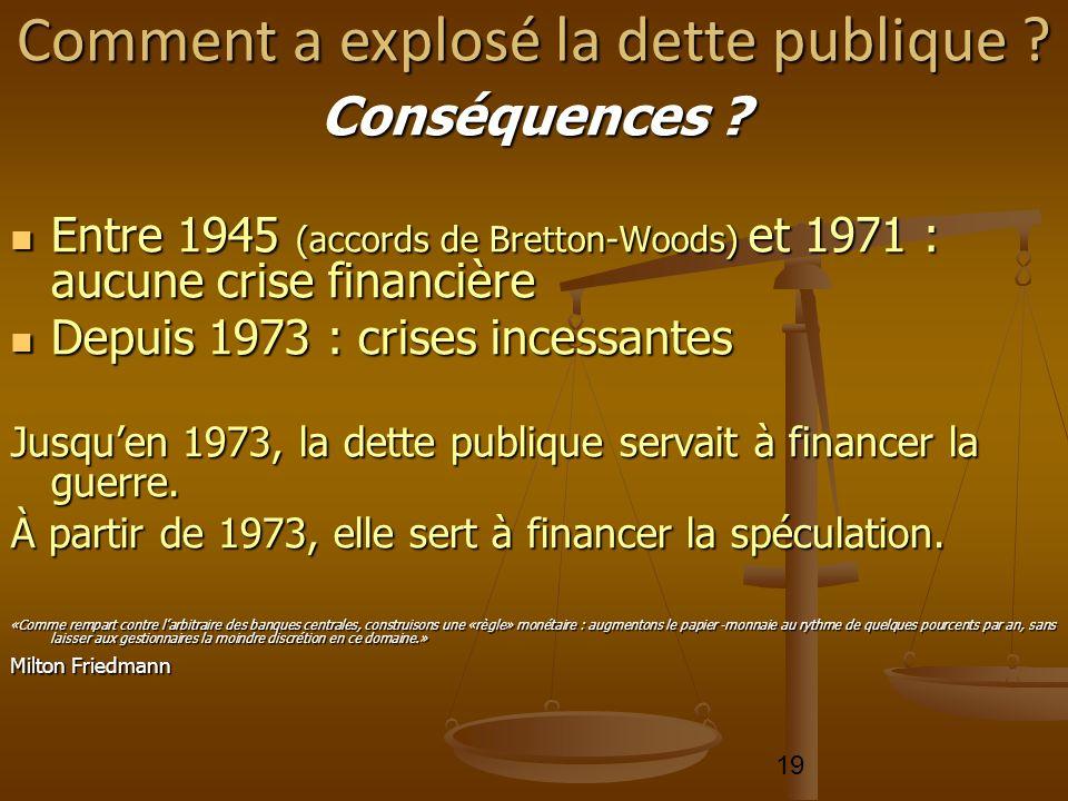 19 Conséquences ? Entre 1945 (accords de Bretton-Woods) et 1971 : aucune crise financière Entre 1945 (accords de Bretton-Woods) et 1971 : aucune crise