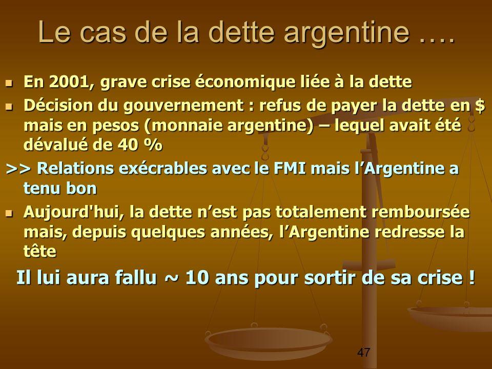 47 En 2001, grave crise économique liée à la dette En 2001, grave crise économique liée à la dette Décision du gouvernement : refus de payer la dette
