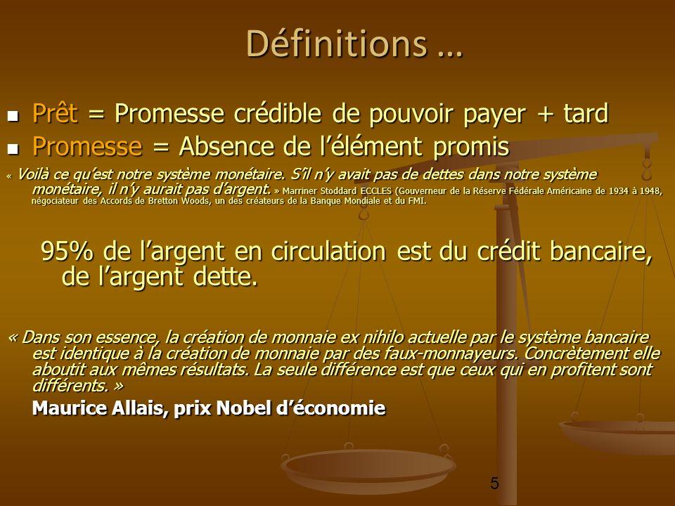 5 Définitions … Prêt = Promesse crédible de pouvoir payer + tard Promesse = Absence de lélément promis « Voilà ce quest notre système monétaire. Sil n