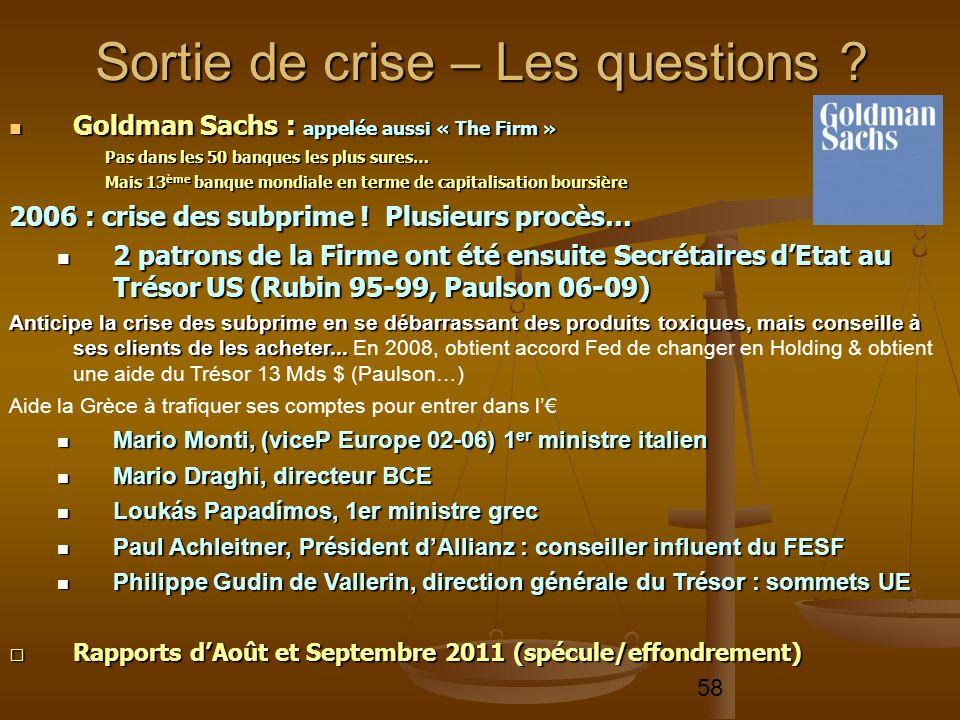 58 Goldman Sachs : appelée aussi « The Firm » Goldman Sachs : appelée aussi « The Firm » Pas dans les 50 banques les plus sures… Mais 13 ème banque mo