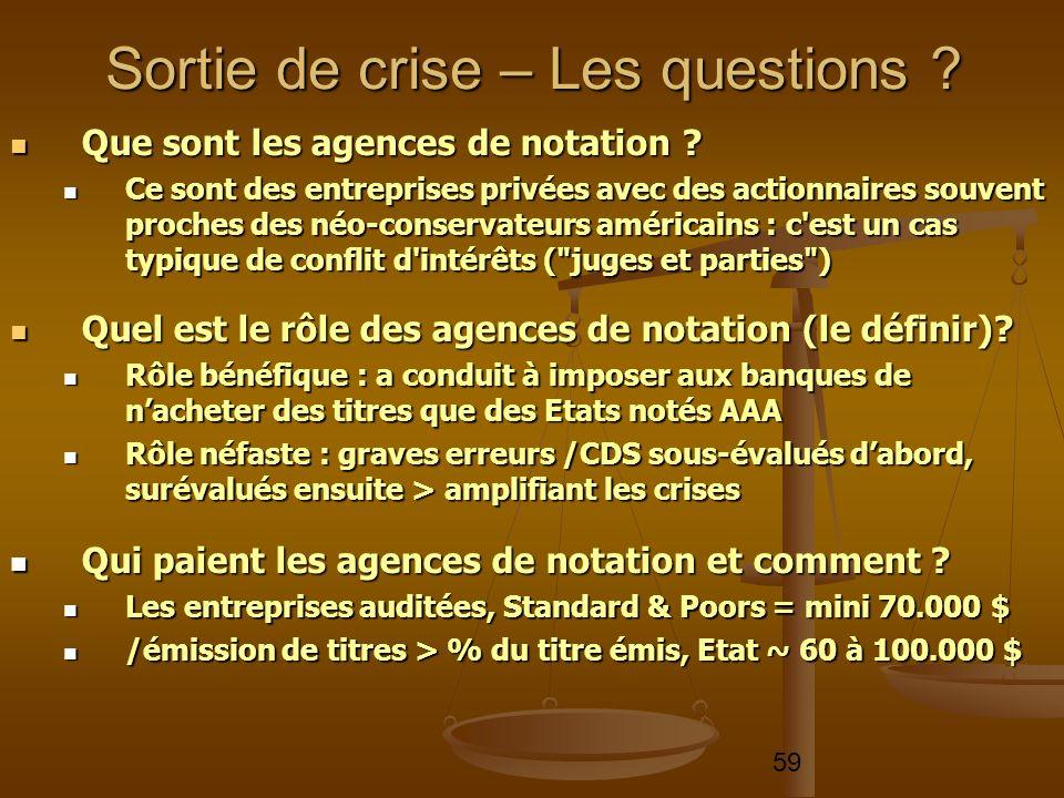 59 Que sont les agences de notation ? Que sont les agences de notation ? Ce sont des entreprises privées avec des actionnaires souvent proches des néo