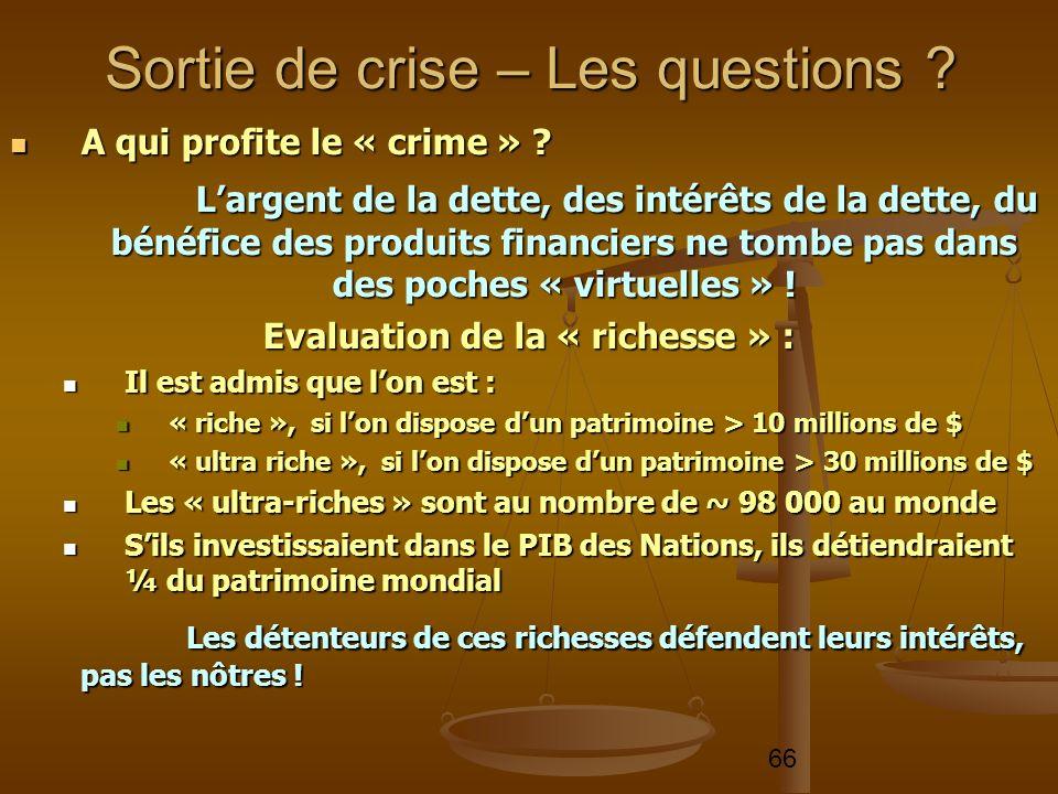 66 A qui profite le « crime » ? A qui profite le « crime » ? Largent de la dette, des intérêts de la dette, du bénéfice des produits financiers ne tom