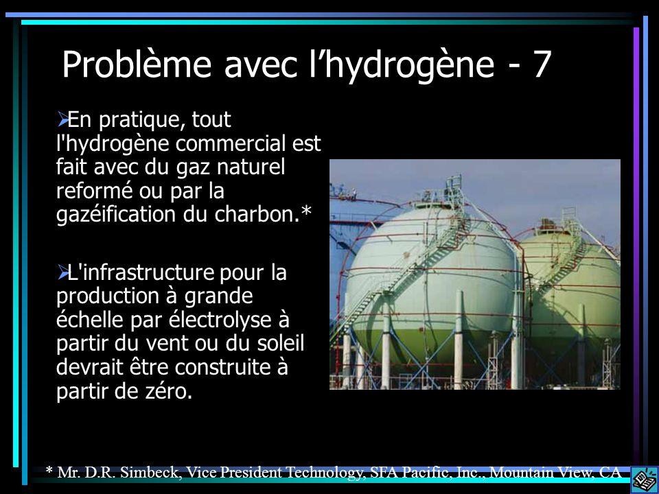 Problème avec lhydrogène - 7 En pratique, tout l'hydrogène commercial est fait avec du gaz naturel reformé ou par la gazéification du charbon.* L'infr