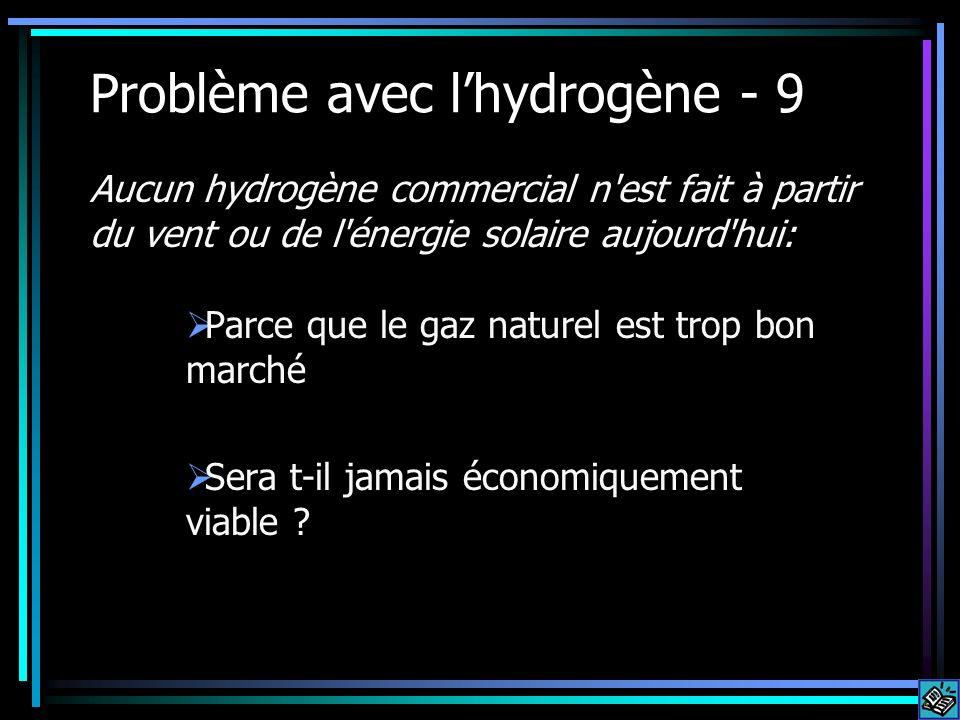 Problème avec lhydrogène - 9 Parce que le gaz naturel est trop bon marché Sera t-il jamais économiquement viable ? Aucun hydrogène commercial n'est fa